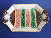 Colourful Majolica Aesthetic Movement Platter with Stripes and Daisy Handles c1880